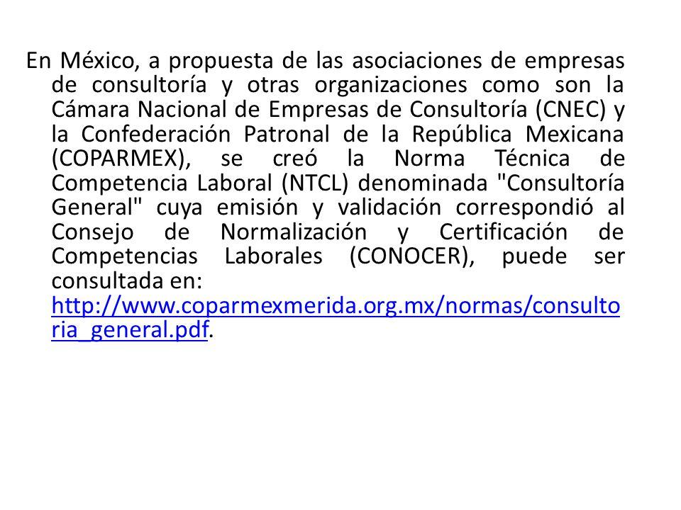 En México, a propuesta de las asociaciones de empresas de consultoría y otras organizaciones como son la Cámara Nacional de Empresas de Consultoría (CNEC) y la Confederación Patronal de la República Mexicana (COPARMEX), se creó la Norma Técnica de Competencia Laboral (NTCL) denominada Consultoría General cuya emisión y validación correspondió al Consejo de Normalización y Certificación de Competencias Laborales (CONOCER), puede ser consultada en: http://www.coparmexmerida.org.mx/normas/consultoria_general.pdf.