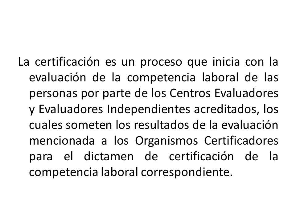La certificación es un proceso que inicia con la evaluación de la competencia laboral de las personas por parte de los Centros Evaluadores y Evaluadores Independientes acreditados, los cuales someten los resultados de la evaluación mencionada a los Organismos Certificadores para el dictamen de certificación de la competencia laboral correspondiente.