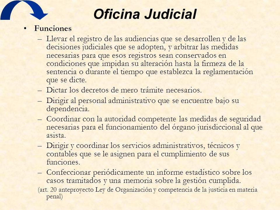 Oficina Judicial Funciones