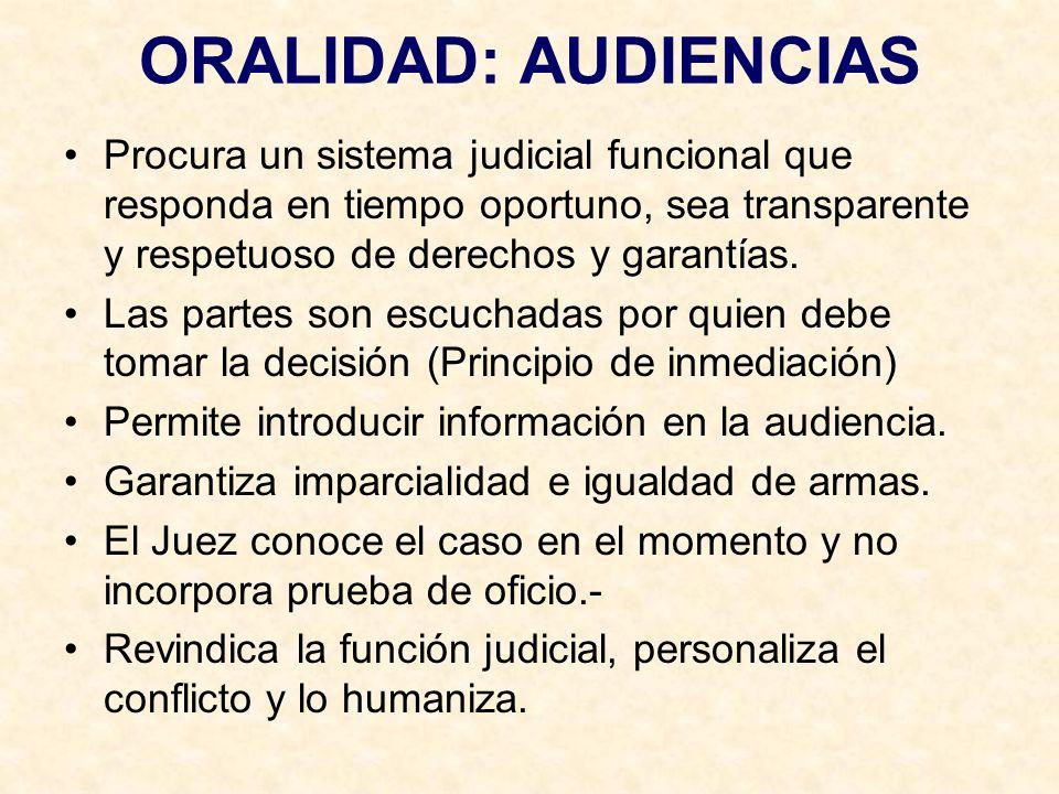 ORALIDAD: AUDIENCIAS Procura un sistema judicial funcional que responda en tiempo oportuno, sea transparente y respetuoso de derechos y garantías.