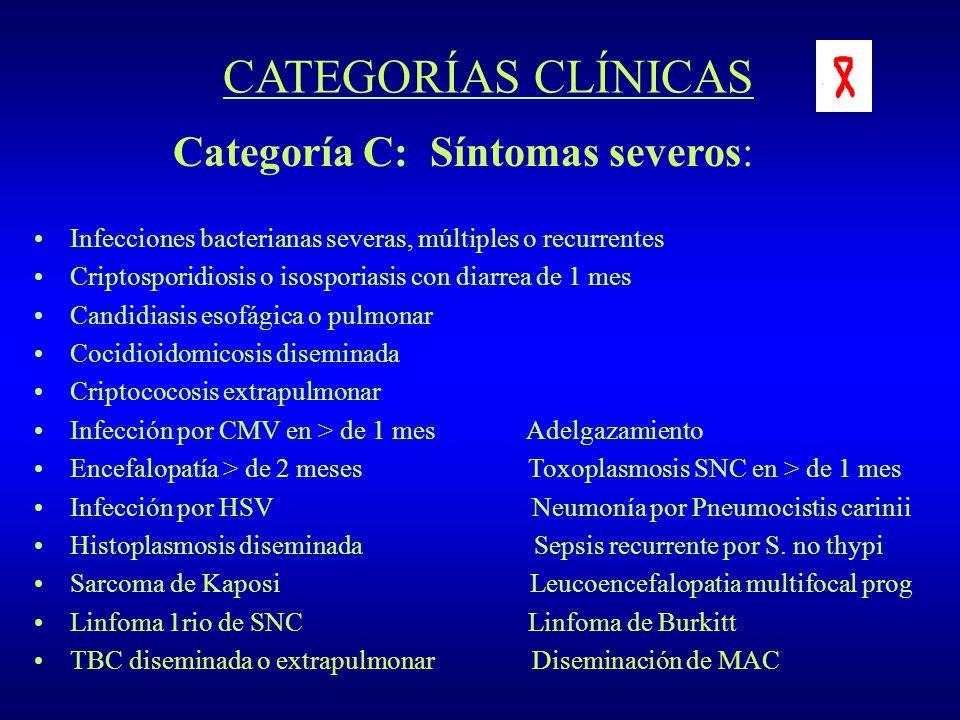 CATEGORÍAS CLÍNICAS Categoría C: Síntomas severos: