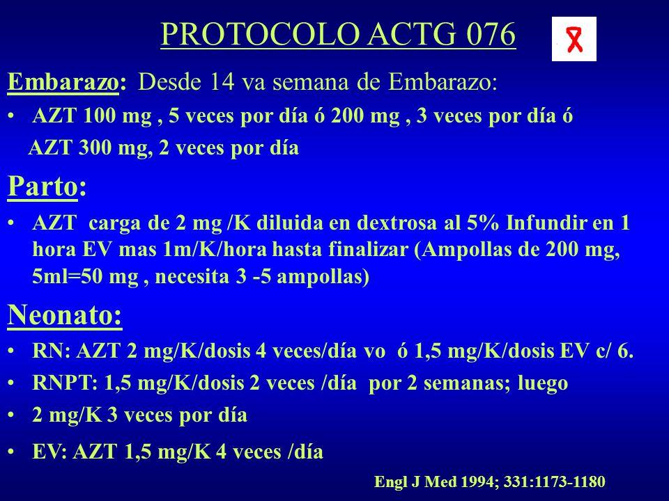 PROTOCOLO ACTG 076 Parto: Neonato: