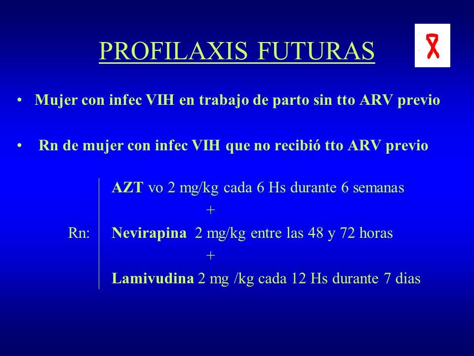 PROFILAXIS FUTURAS Mujer con infec VIH en trabajo de parto sin tto ARV previo. Rn de mujer con infec VIH que no recibió tto ARV previo.
