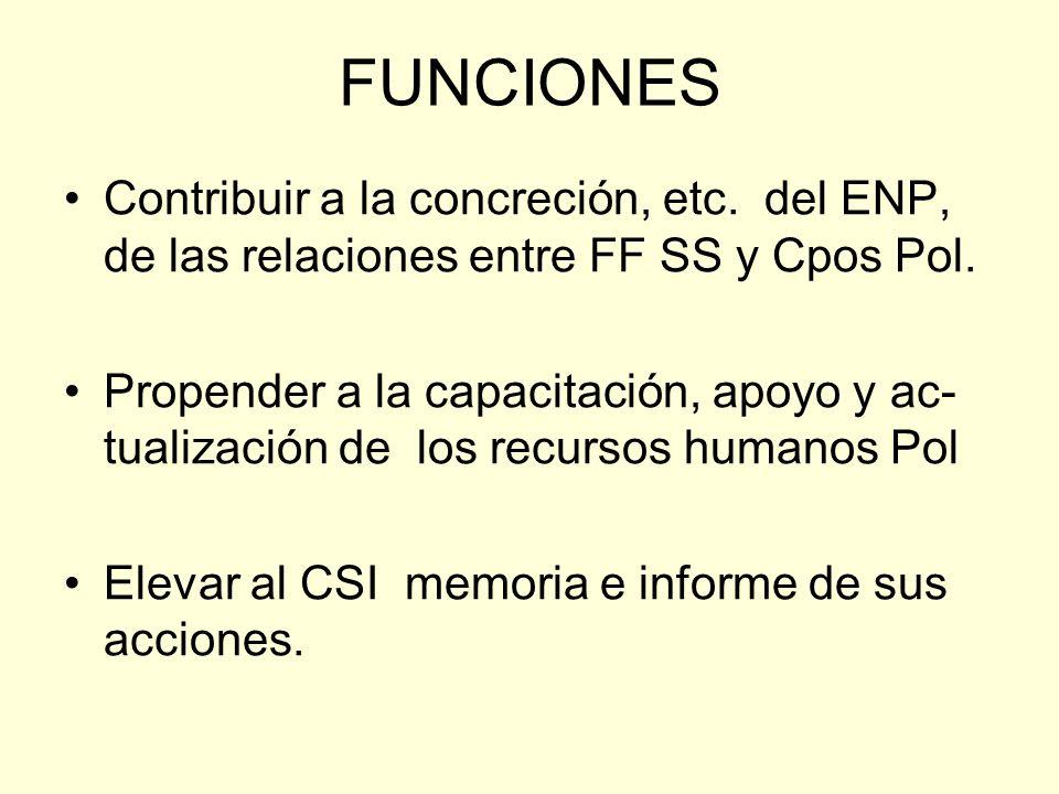 FUNCIONES Contribuir a la concreción, etc. del ENP, de las relaciones entre FF SS y Cpos Pol.