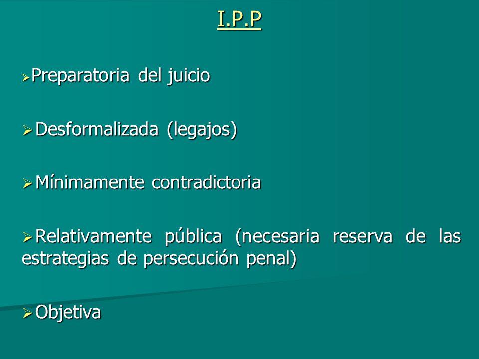 I.P.P Desformalizada (legajos) Mínimamente contradictoria