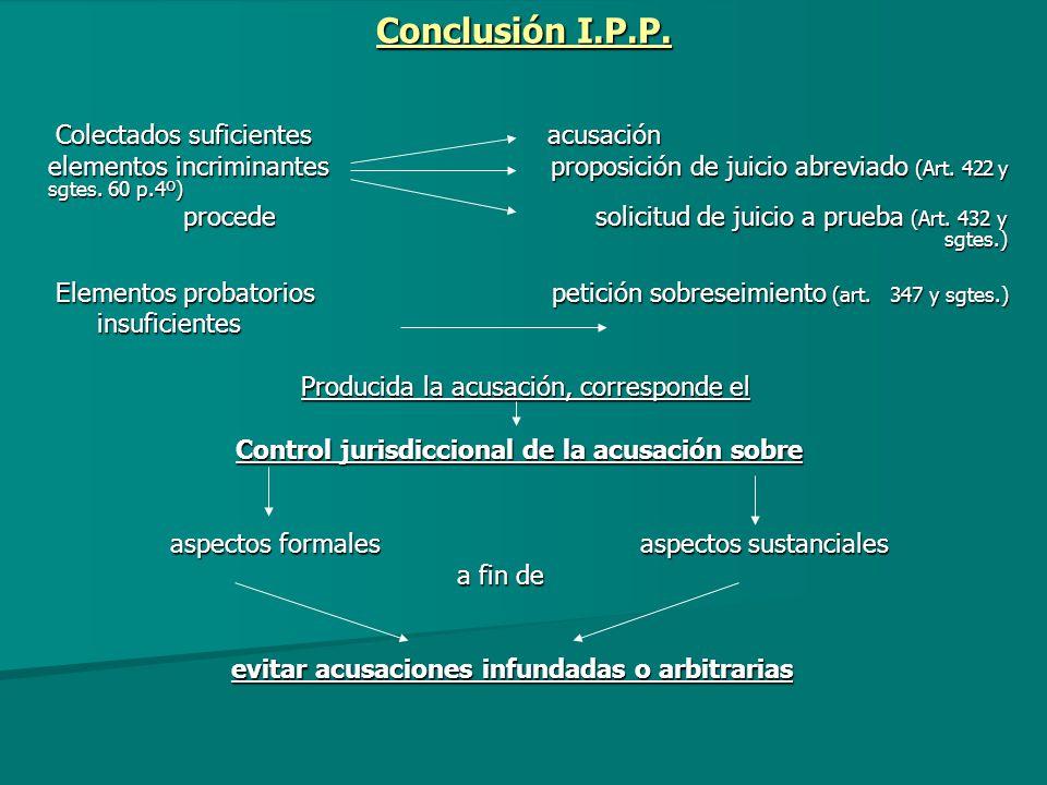 Conclusión I.P.P. Colectados suficientes acusación