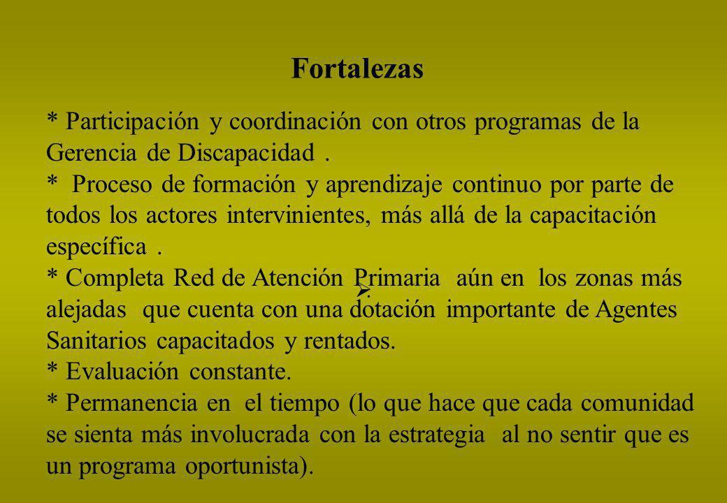 Fortalezas * Participación y coordinación con otros programas de la Gerencia de Discapacidad .