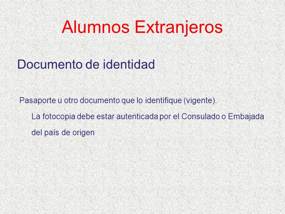 Alumnos Extranjeros Documento de identidad