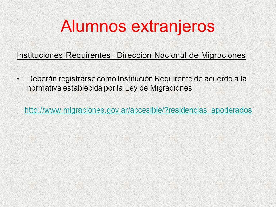 Alumnos extranjeros Instituciones Requirentes -Dirección Nacional de Migraciones.