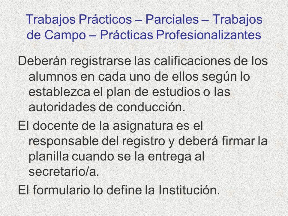 Trabajos Prácticos – Parciales – Trabajos de Campo – Prácticas Profesionalizantes