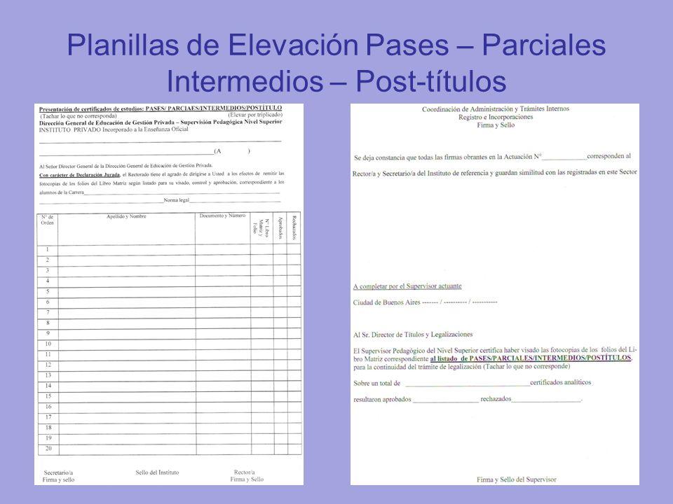 Planillas de Elevación Pases – Parciales Intermedios – Post-títulos