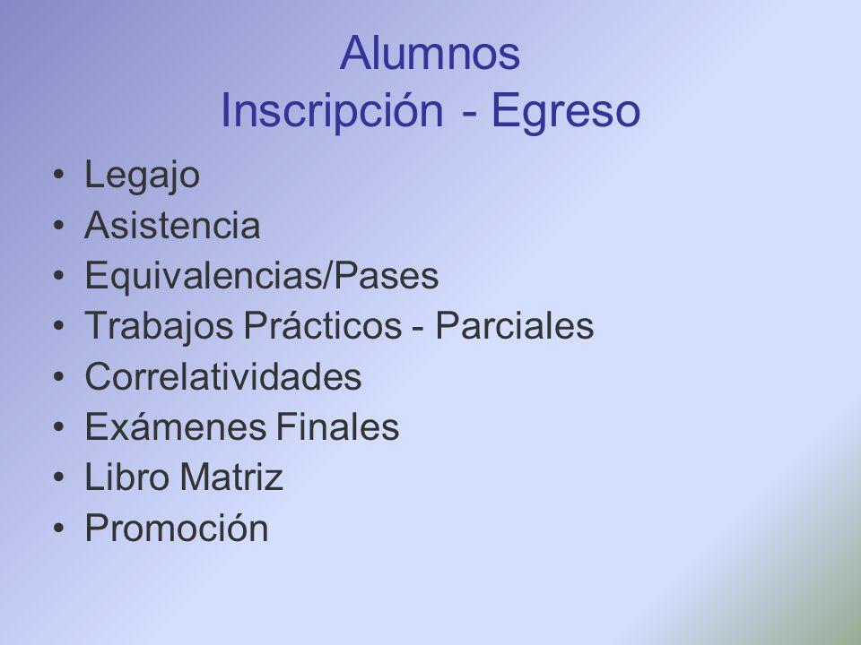 Alumnos Inscripción - Egreso