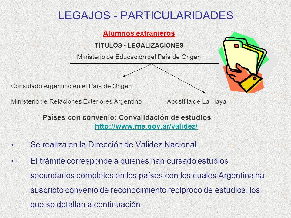 LEGAJOS - PARTICULARIDADES