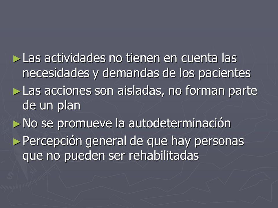 Las actividades no tienen en cuenta las necesidades y demandas de los pacientes