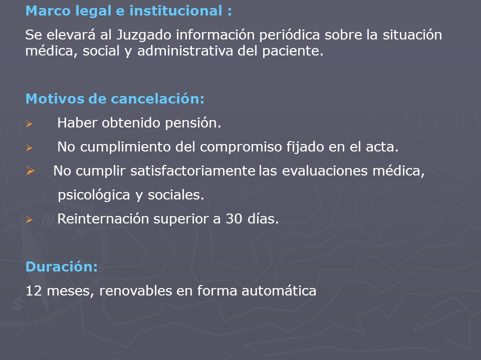 Marco legal e institucional :