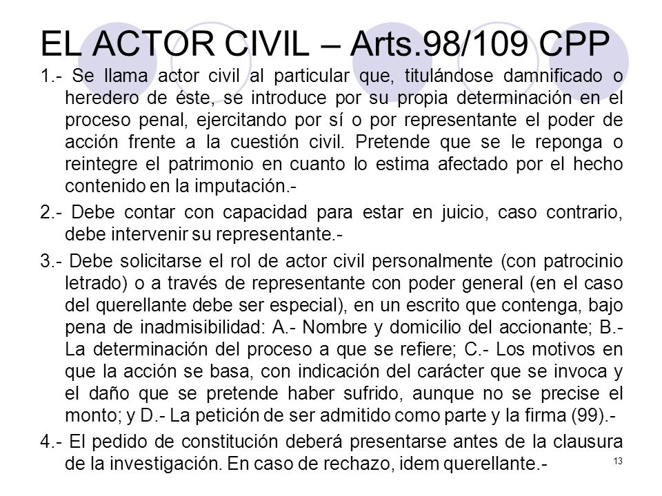 EL ACTOR CIVIL – Arts.98/109 CPP
