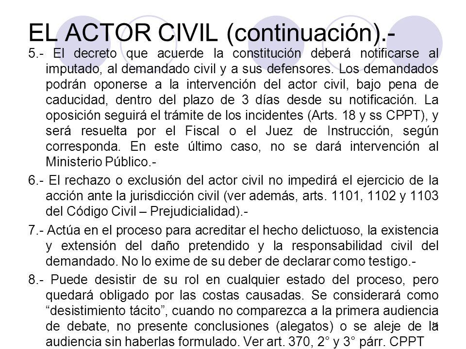 EL ACTOR CIVIL (continuación).-