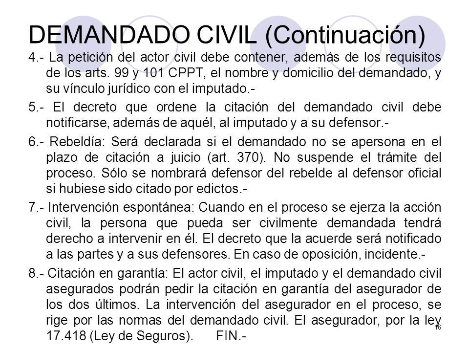 DEMANDADO CIVIL (Continuación)