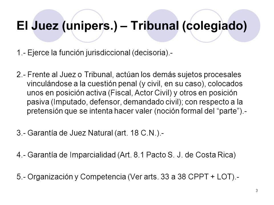 El Juez (unipers.) – Tribunal (colegiado)