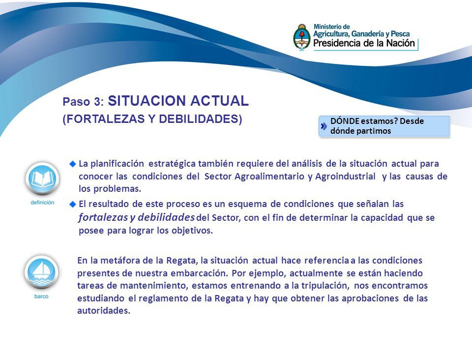 Paso 3: SITUACION ACTUAL (FORTALEZAS Y DEBILIDADES)