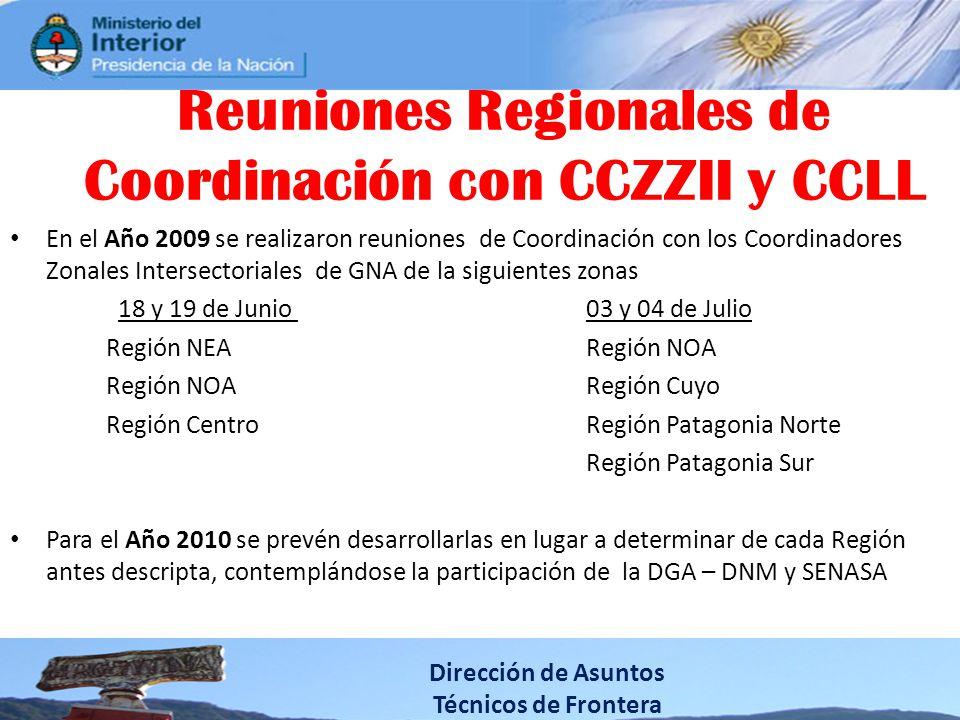 Reuniones Regionales de Coordinación con CCZZII y CCLL