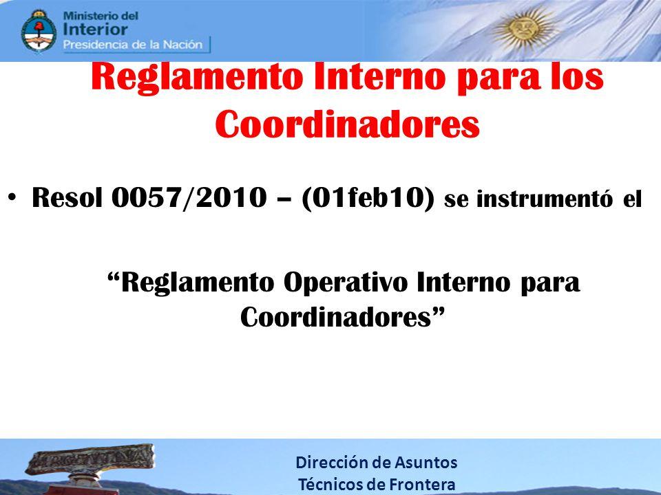 Reglamento Interno para los Coordinadores