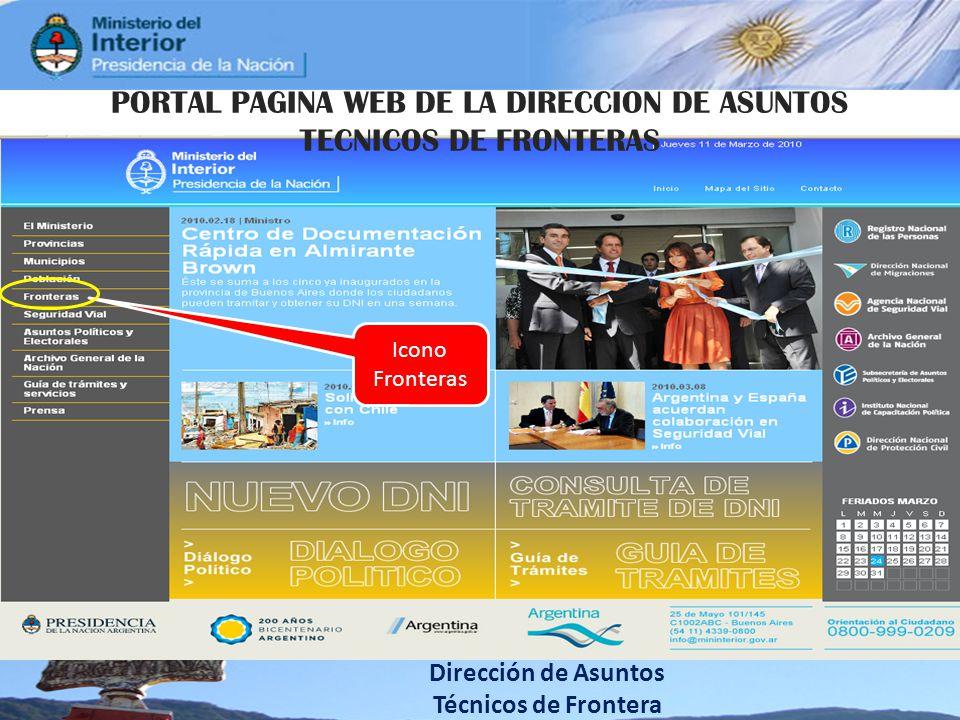 PORTAL PAGINA WEB DE LA DIRECCION DE ASUNTOS TECNICOS DE FRONTERAS