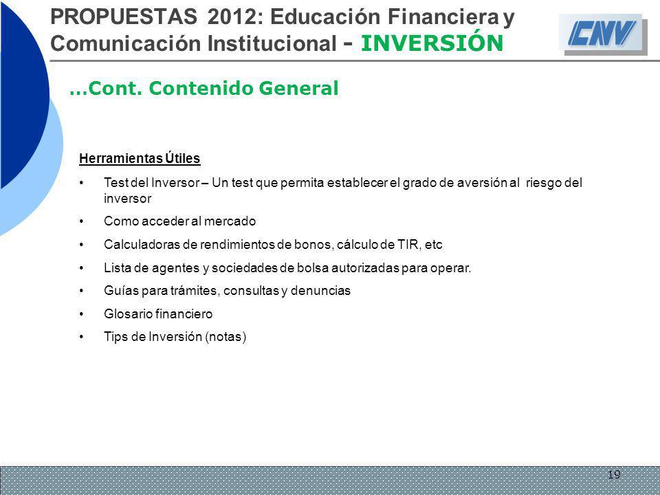 PROPUESTAS 2012: Educación Financiera y Comunicación Institucional - INVERSIÓN