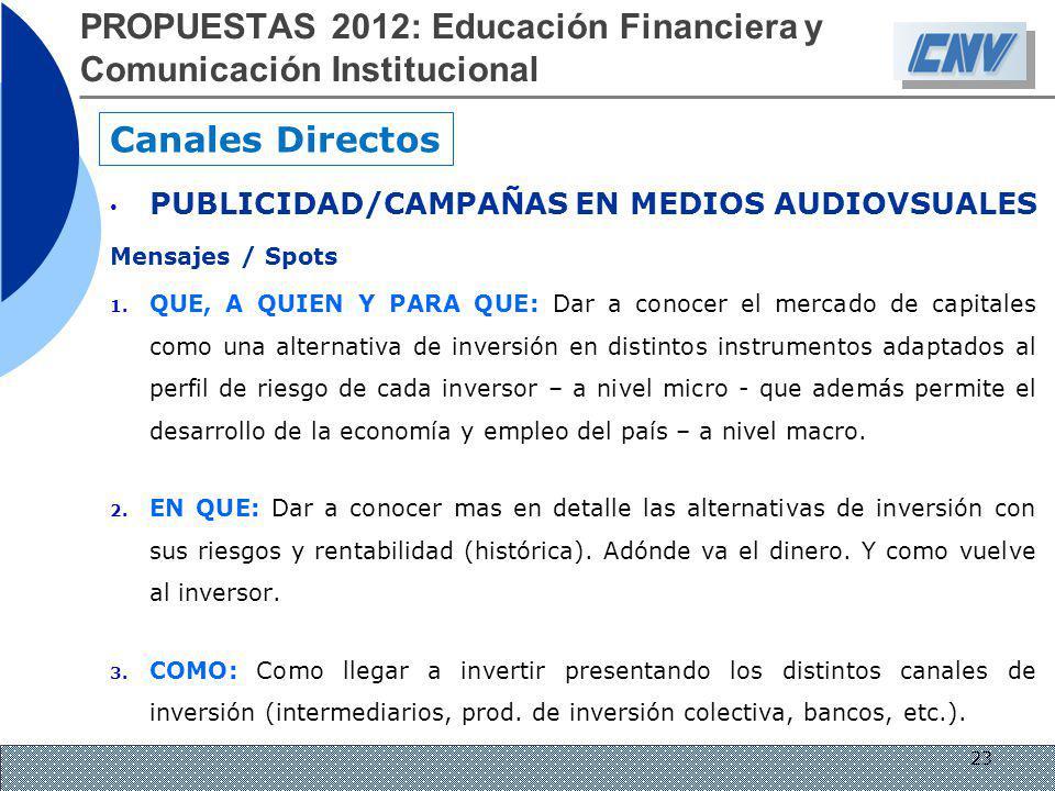 PROPUESTAS 2012: Educación Financiera y Comunicación Institucional
