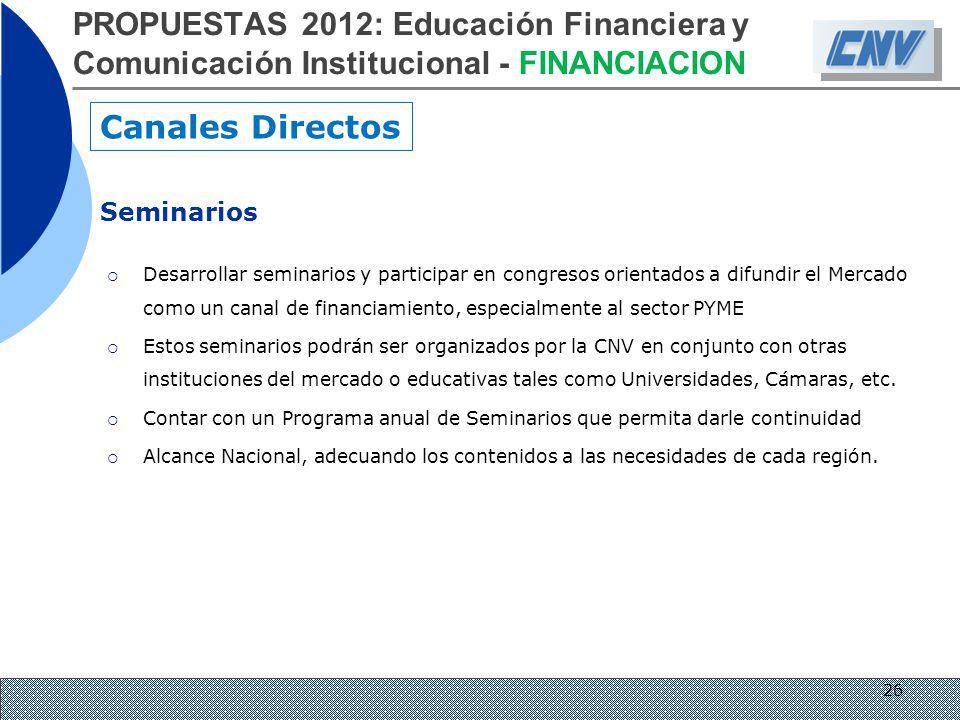 PROPUESTAS 2012: Educación Financiera y Comunicación Institucional - FINANCIACION