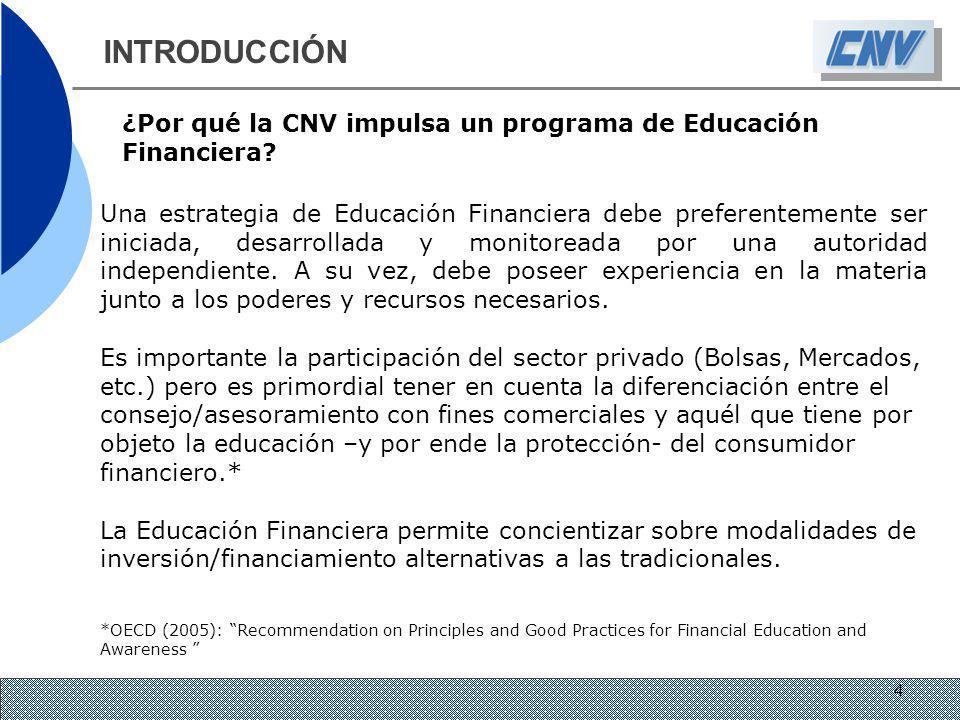 INTRODUCCIÓN ¿Por qué la CNV impulsa un programa de Educación Financiera