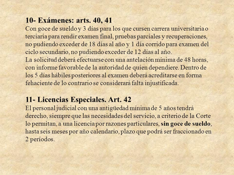 11- Licencias Especiales. Art. 42