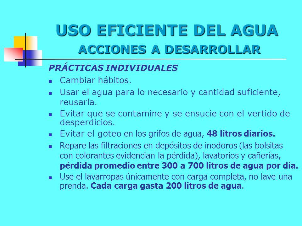 USO EFICIENTE DEL AGUA ACCIONES A DESARROLLAR