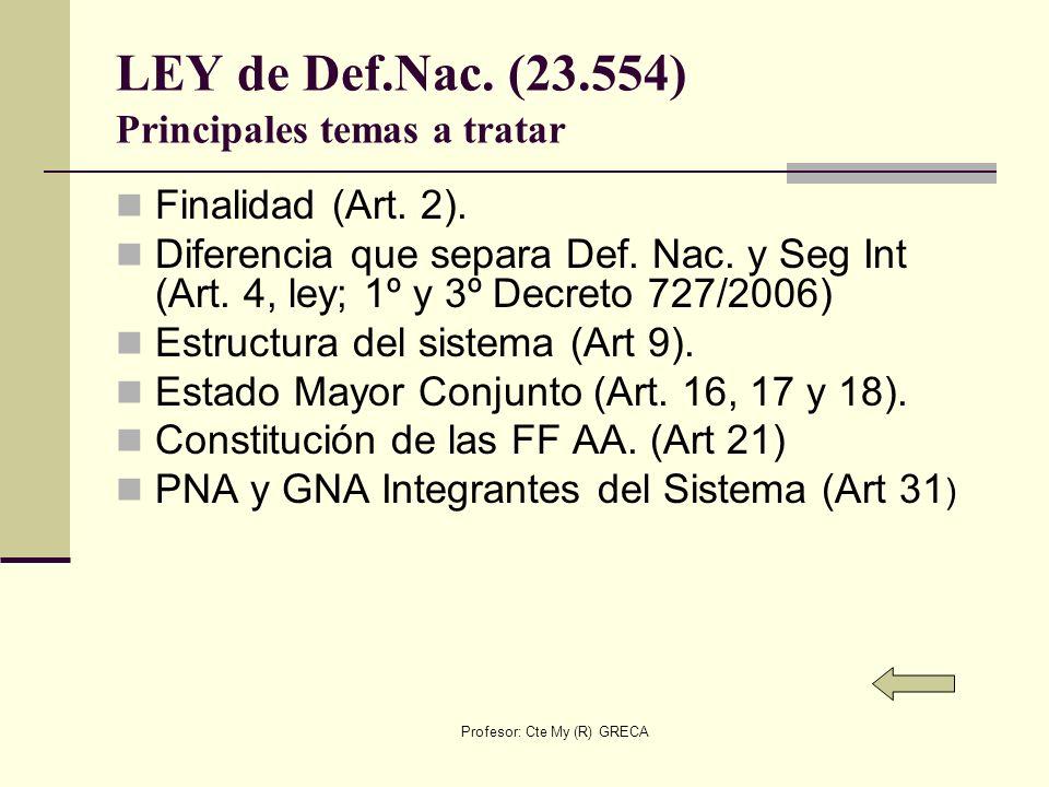 LEY de Def.Nac. (23.554) Principales temas a tratar