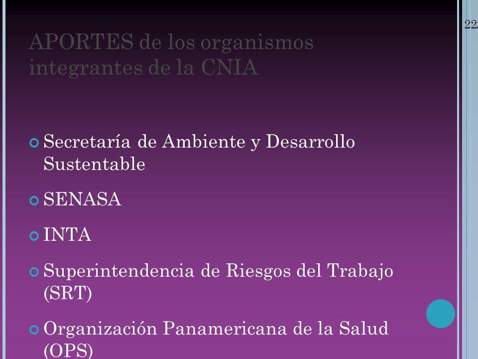 APORTES de los organismos integrantes de la CNIA
