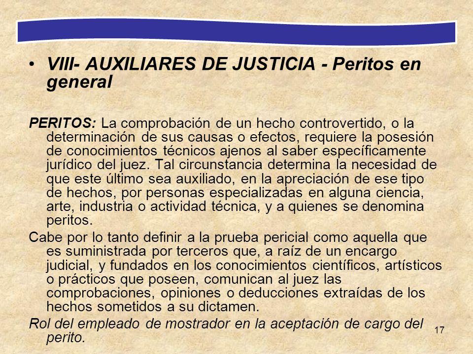 VIII- AUXILIARES DE JUSTICIA - Peritos en general