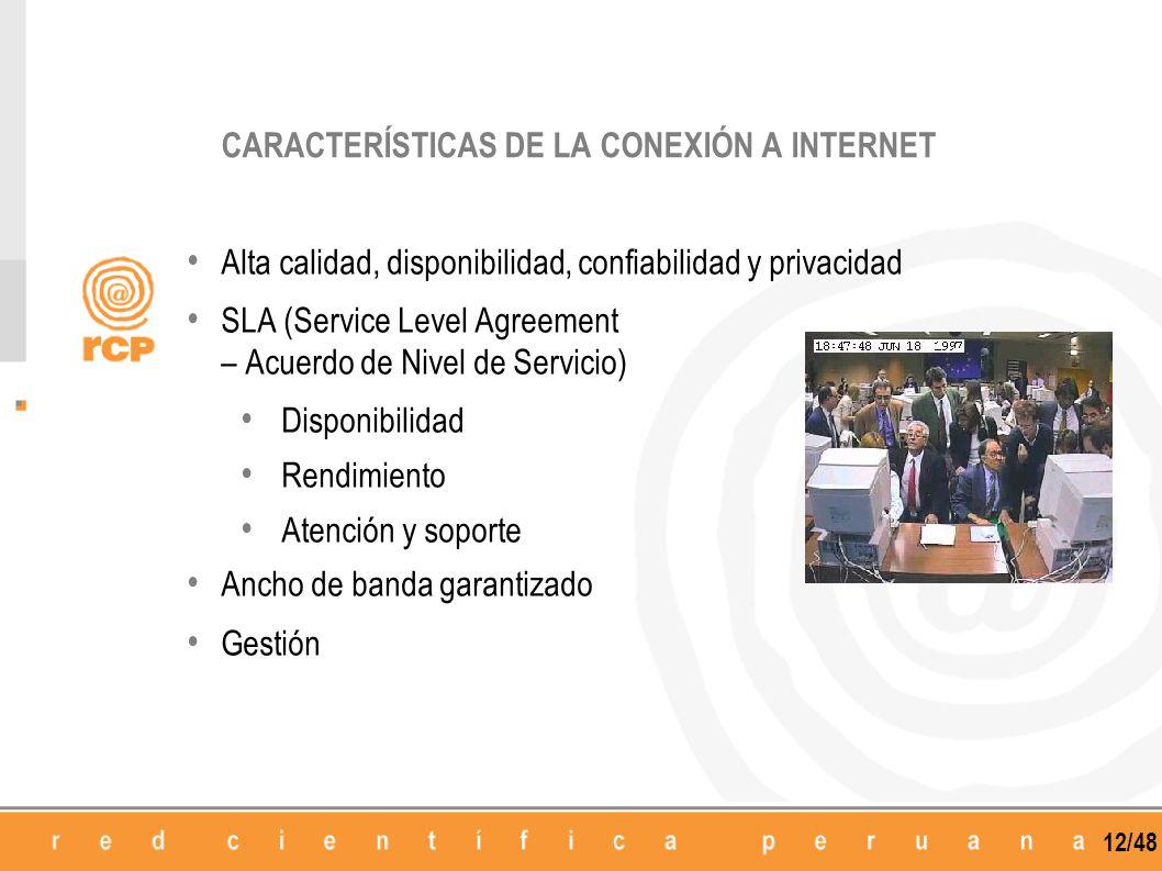 CARACTERÍSTICAS DE LA CONEXIÓN A INTERNET