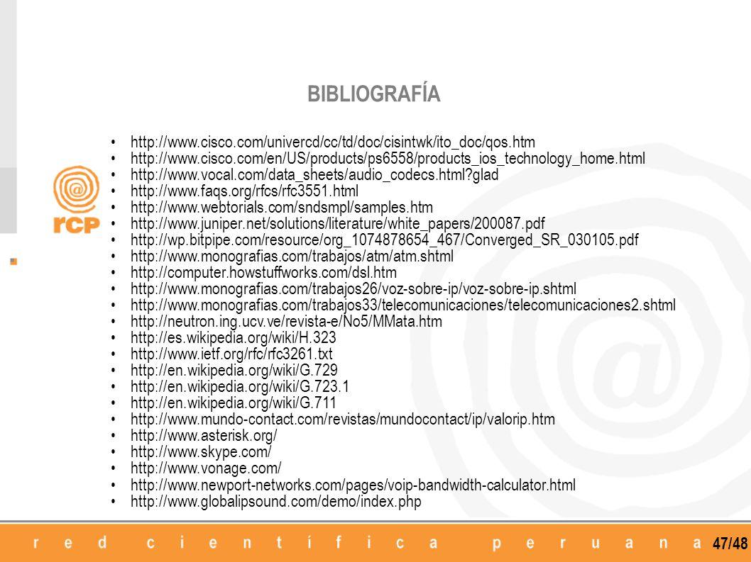 BIBLIOGRAFÍA http://www.cisco.com/univercd/cc/td/doc/cisintwk/ito_doc/qos.htm.