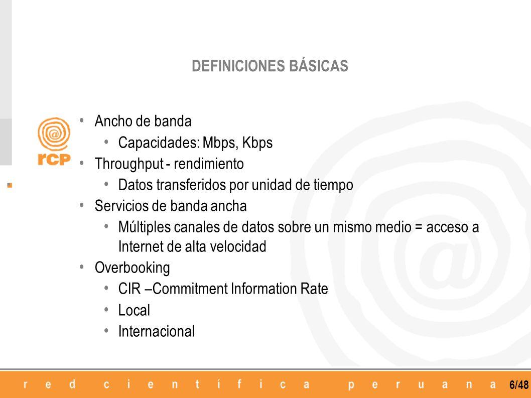 DEFINICIONES BÁSICAS Ancho de banda. Capacidades: Mbps, Kbps. Throughput - rendimiento. Datos transferidos por unidad de tiempo.