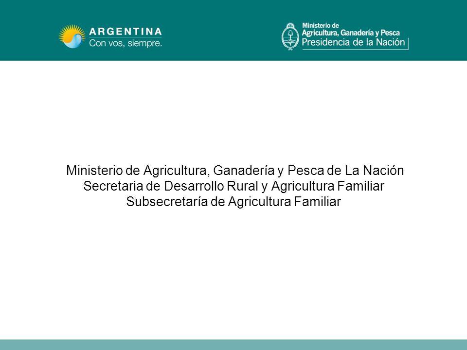Ministerio de Agricultura, Ganadería y Pesca de La Nación Secretaria de Desarrollo Rural y Agricultura Familiar Subsecretaría de Agricultura Familiar