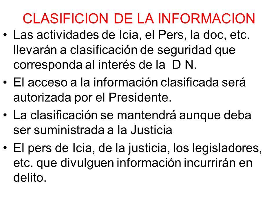 CLASIFICION DE LA INFORMACION