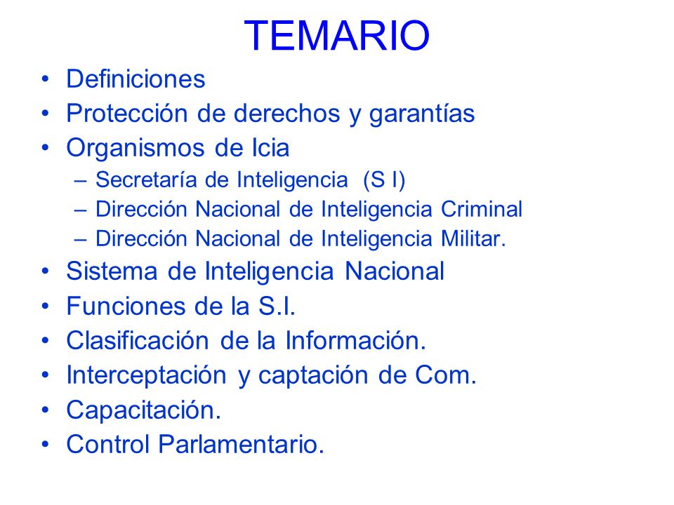 TEMARIO Definiciones Protección de derechos y garantías