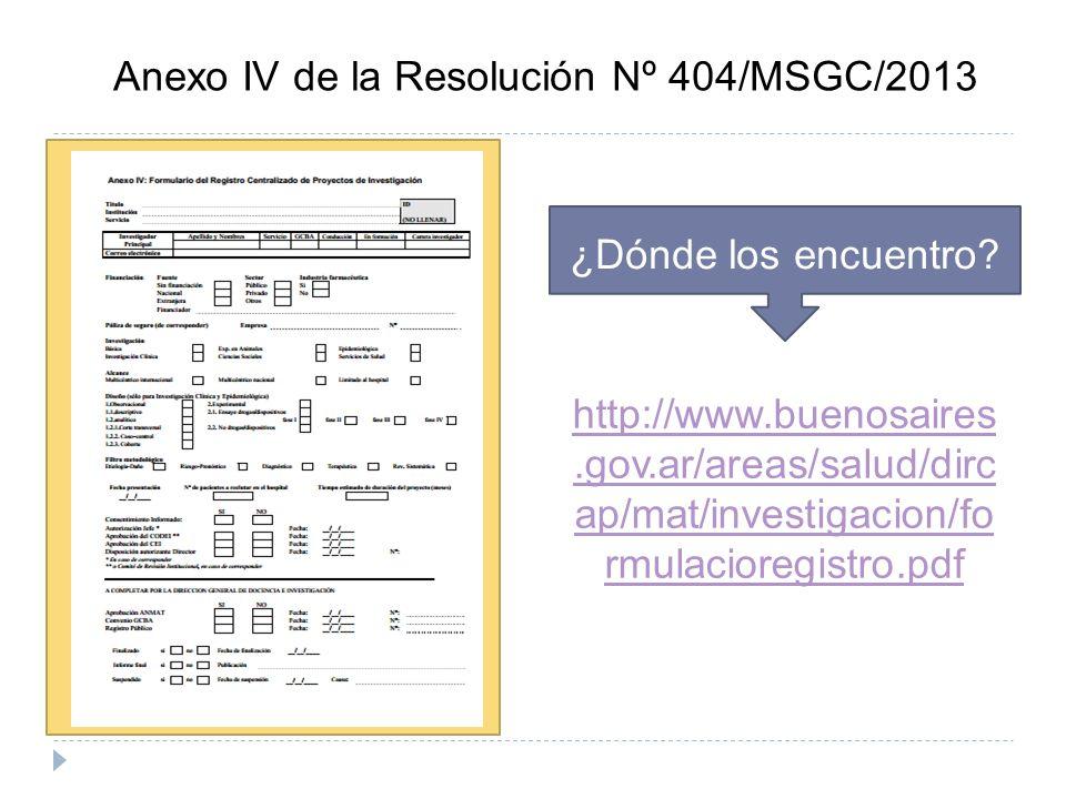 Anexo IV de la Resolución Nº 404/MSGC/2013