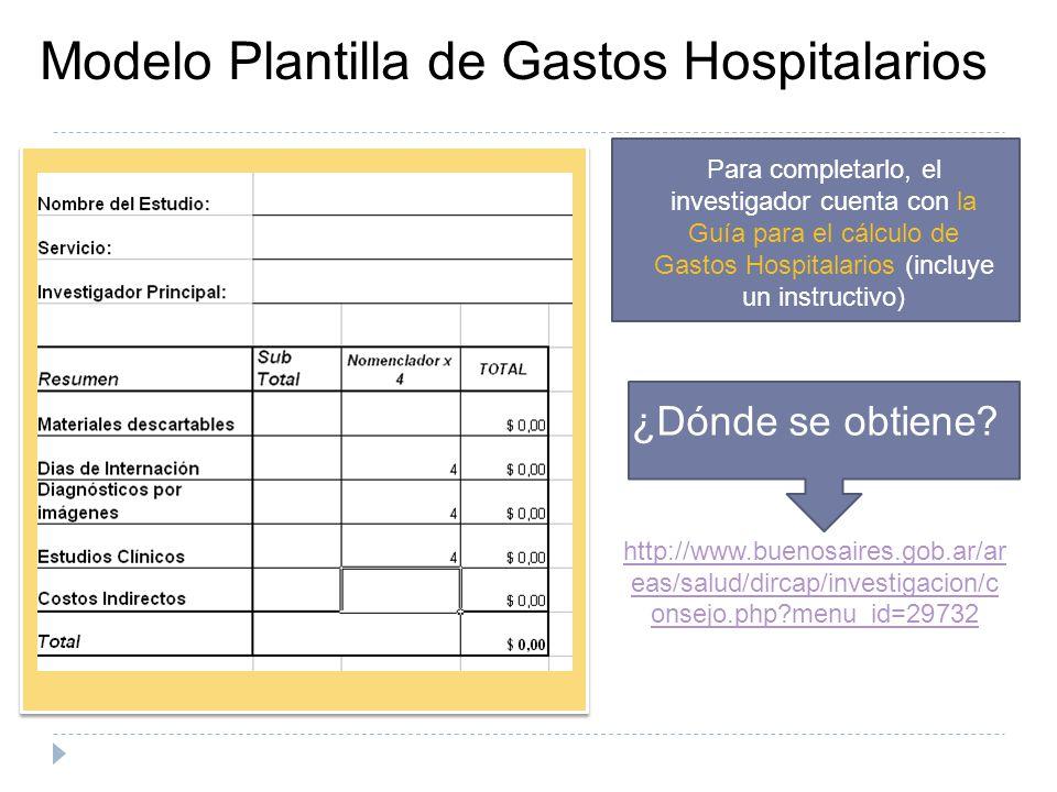 Modelo Plantilla de Gastos Hospitalarios