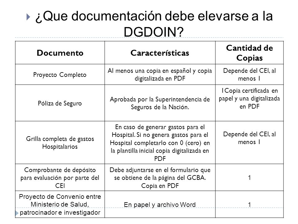 ¿Que documentación debe elevarse a la DGDOIN
