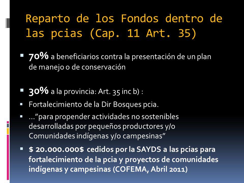 Reparto de los Fondos dentro de las pcias (Cap. 11 Art. 35)
