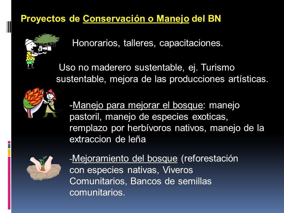 Proyectos de Conservación o Manejo del BN