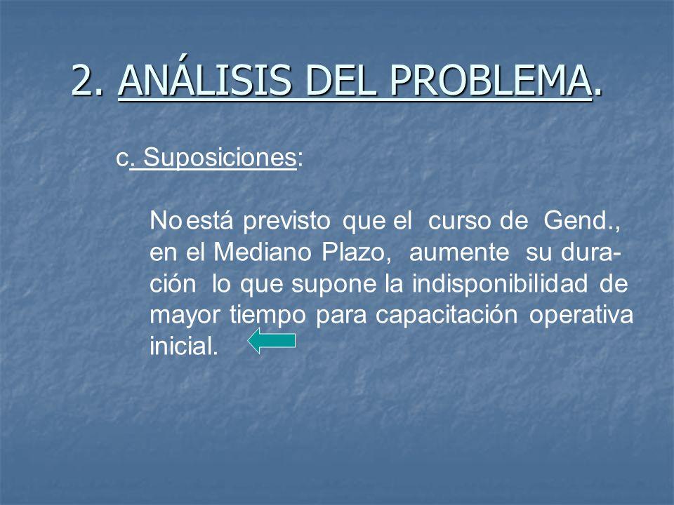 2. ANÁLISIS DEL PROBLEMA. c. Suposiciones: