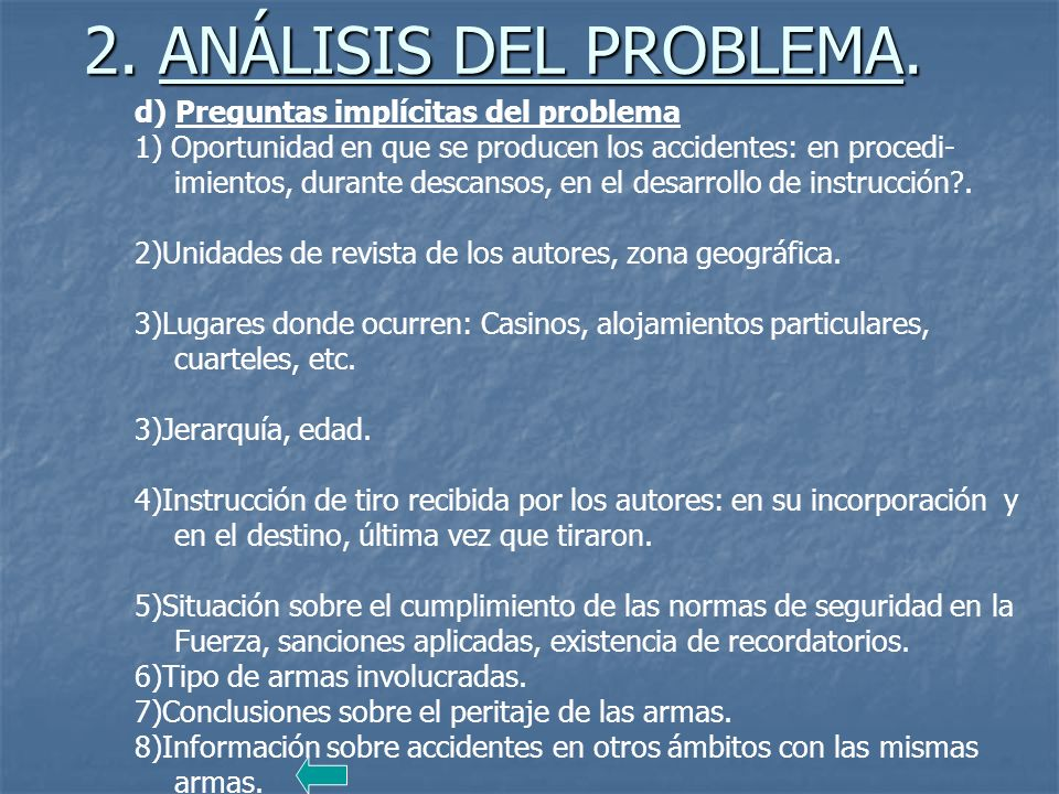 2. ANÁLISIS DEL PROBLEMA. d) Preguntas implícitas del problema