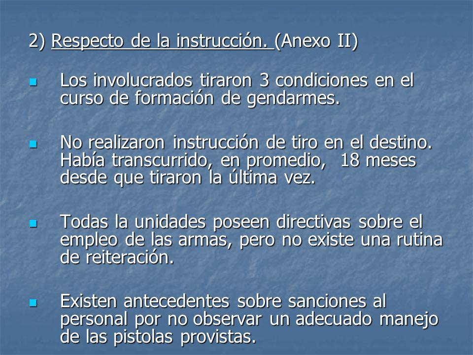 2) Respecto de la instrucción. (Anexo II)